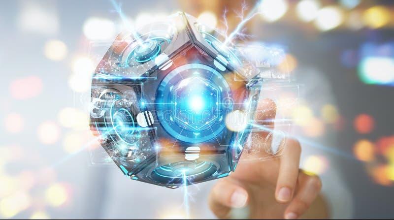 Geschäftsfrau, die futuristisches Brummenüberwachungskamera 3D renderin verwendet lizenzfreie abbildung