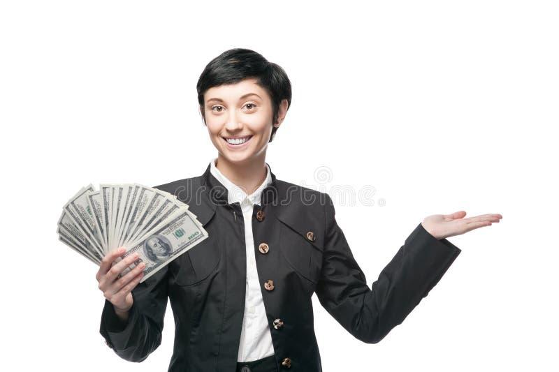 Geschäftsfrau, die Geld hält stockbilder