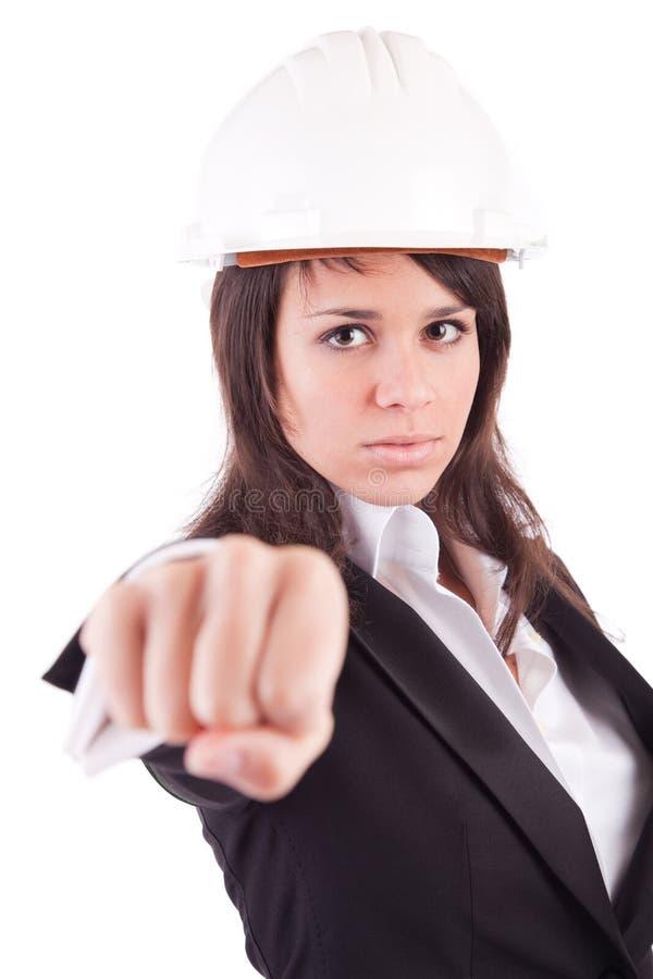 Geschäftsfrau, die geschlossene Hand zeigt lizenzfreie stockfotos