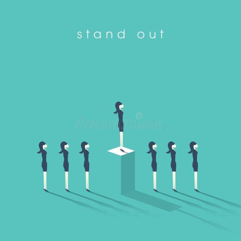 Geschäftsfrau, die heraus von der Menge steht Geschäftsfrau und Konzept der Gleichheit oder der Ungleichheit im Fachmann vektor abbildung