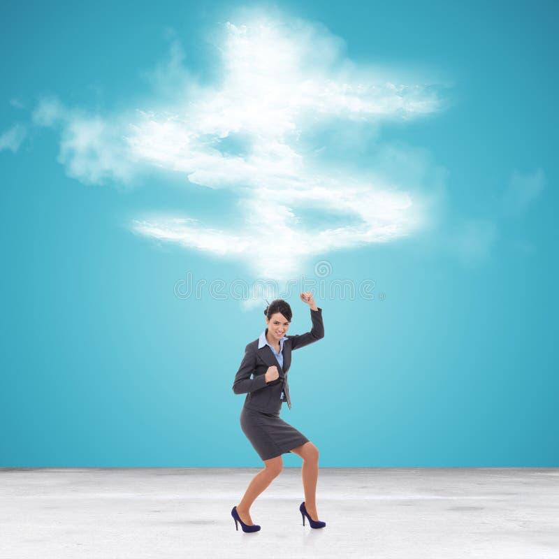 Geschäftsfrau, die ihren Erfolg gestikuliert stockbilder