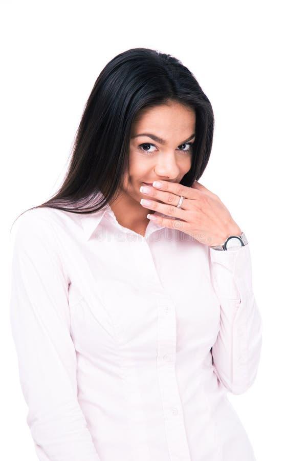 Geschäftsfrau, die ihren Mund mit der Hand bedeckt lizenzfreies stockbild