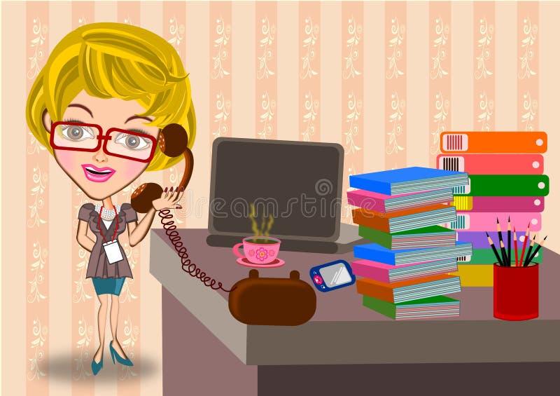Geschäftsfrau, die im Büro arbeitet stock abbildung