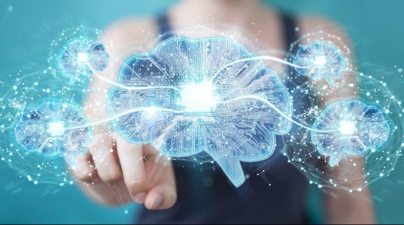 Geschäftsfrau, die künstliche Intelligenz in einem digitalen brai schafft lizenzfreie abbildung