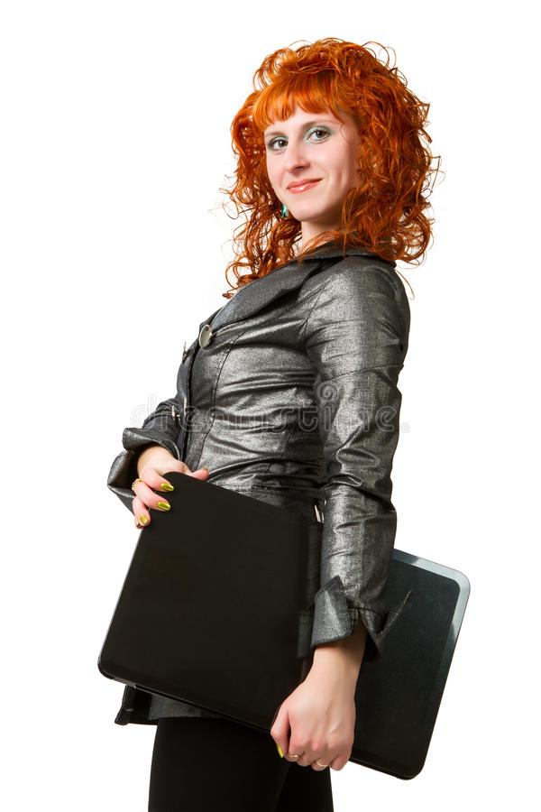 Geschäftsfrau, die Laptop-Computer verwendet lizenzfreie stockfotos