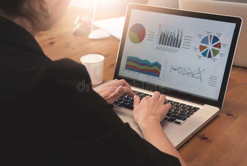 Geschäftsfrau, die Laptop für ihre Arbeit verwendet stockbild