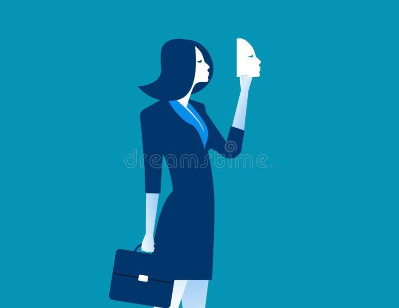 Geschäftsfrau, die Maske in der Front hält Konzeptgeschäftsleute DES vektor abbildung