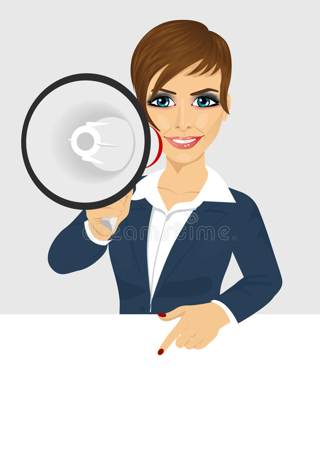 Geschäftsfrau, die mit dem Megaphon zeigt auf Anschlagtafel mit Text für copyspace schreit lizenzfreie abbildung