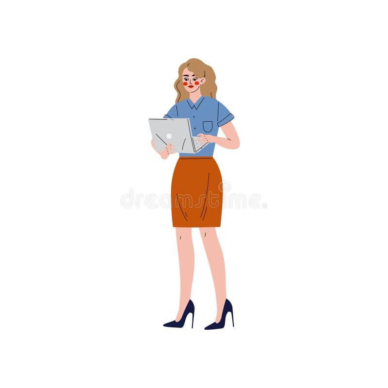 Geschäftsfrau, die mit Laptop, Büroangestelltem, Unternehmer oder Manager Character Vector Illustration arbeitet lizenzfreie abbildung