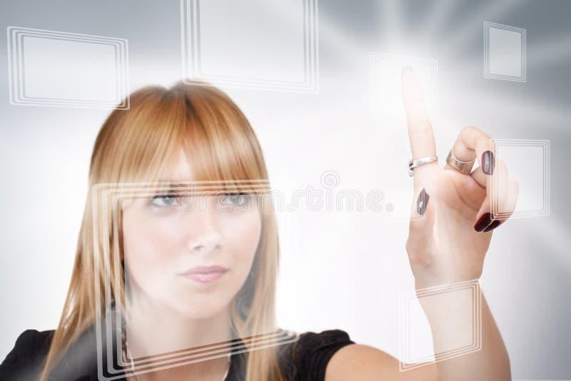 Download Geschäftsfrau, Die Moderne Tasten Bedrängt Stock Abbildung - Illustration von media, kommunikation: 27729705
