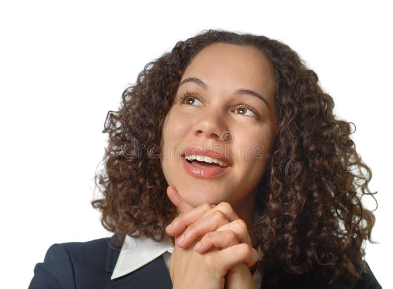 Geschäftsfrau, die oben schaut lizenzfreies stockbild