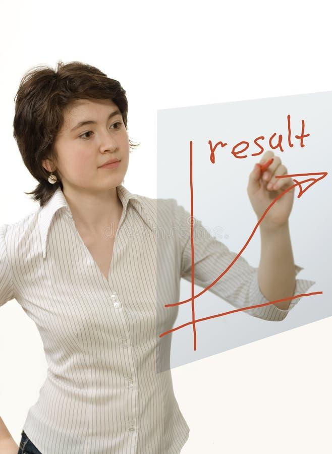 Geschäftsfrau, die rotes Diagramm zeichnet lizenzfreies stockbild
