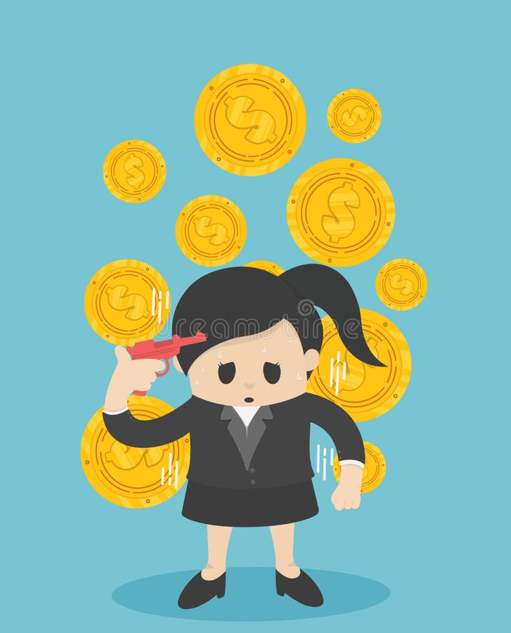Geschäftsfrau, die sein Geld verliert Geschäftsvektorillustration, f vektor abbildung