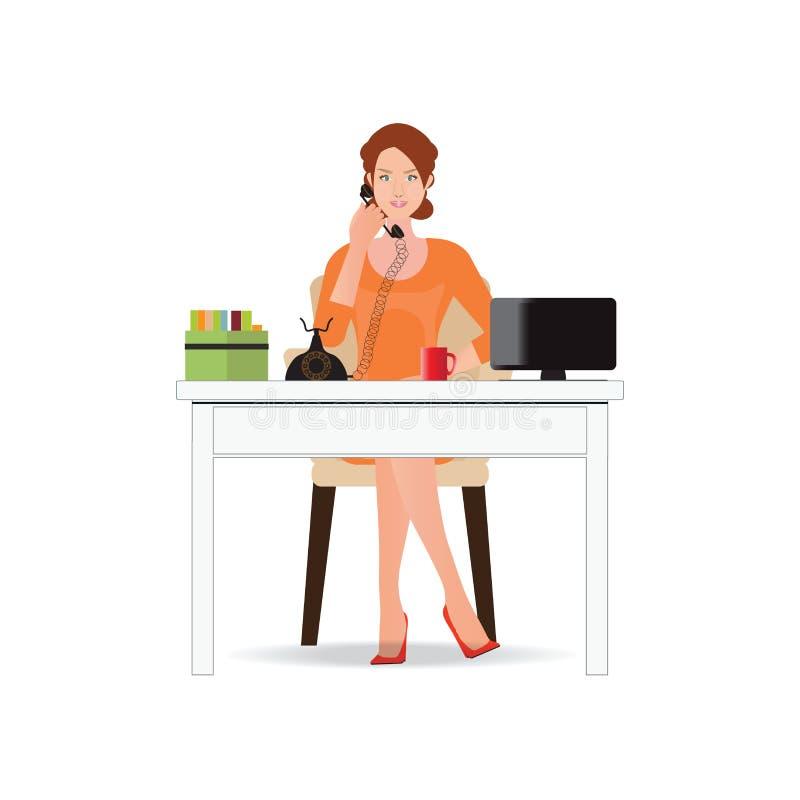 Geschäftsfrau, die am Telefon im Büro lokalisiert auf Weiß spricht vektor abbildung