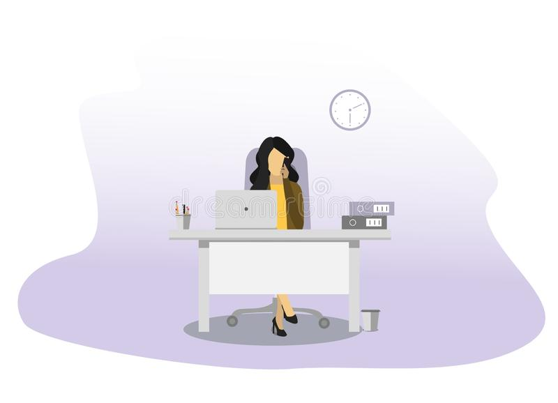 Geschäftsfrau, die am Telefon spricht Stift, Uhr, Notizbuch stock abbildung