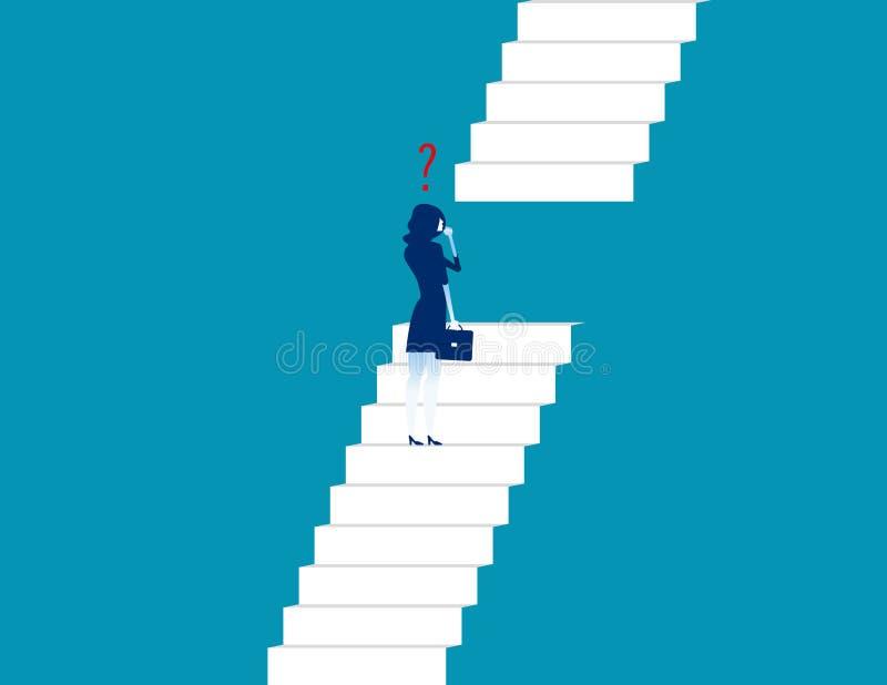 Geschäftsfrau, die Treppe steht und schaut Konzeptgeschäft vecto stock abbildung