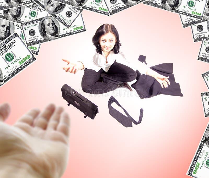 Geschäftsfrau, die um Hilfe bittet stockbild