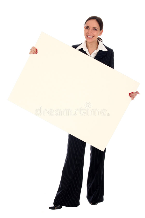 Geschäftsfrau, die unbelegtes Plakat anhält stockbilder