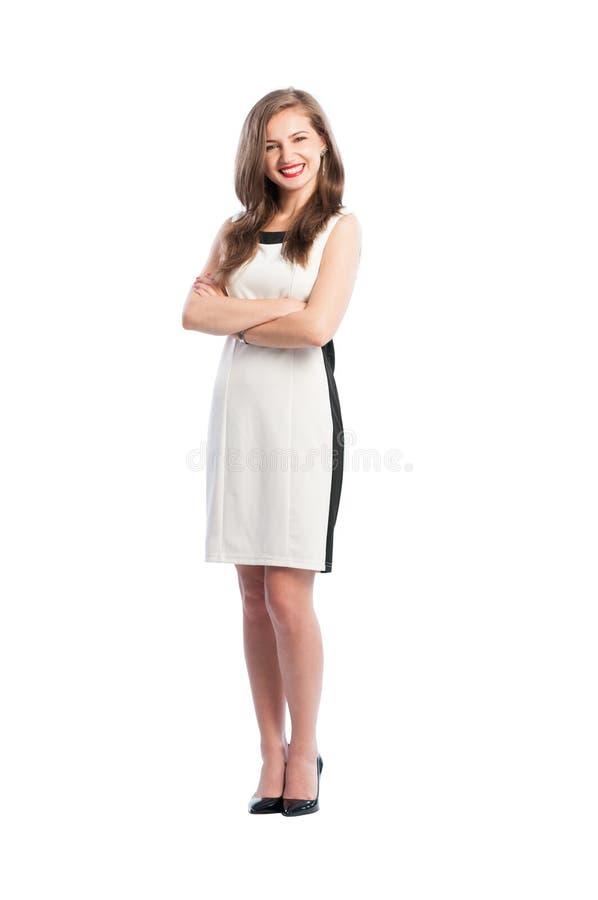 Geschäftsfrau, die vollen Körper aufwirft lizenzfreie stockfotografie
