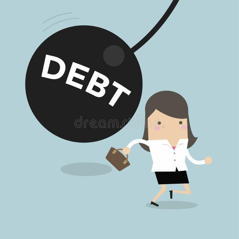 Geschäftsfrau, die weg von enormem Pendel mit Mitteilung ` Schuld `, Finanzkrise im Steuerlastkonzept läuft stock abbildung