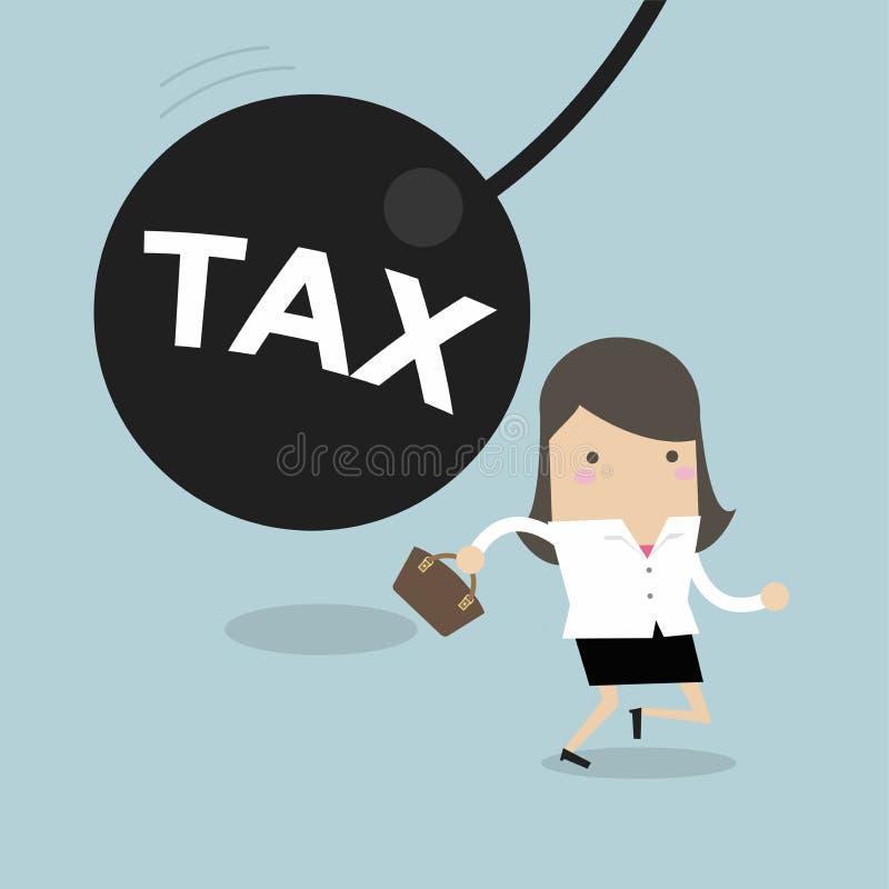 Geschäftsfrau, die weg von enormem Pendel mit Mitteilung ` Steuer `, Finanzkrise im Steuerlastkonzept läuft stock abbildung