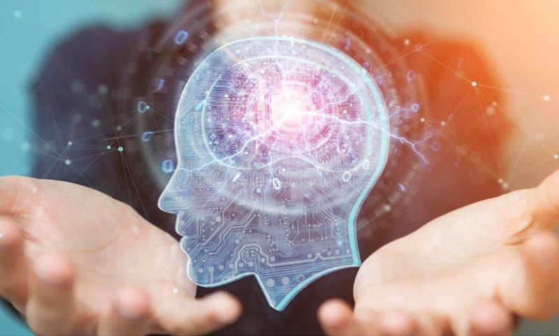 Geschäftsfrau, die Wiedergabe der künstlichen Intelligenz 3D schafft lizenzfreie abbildung