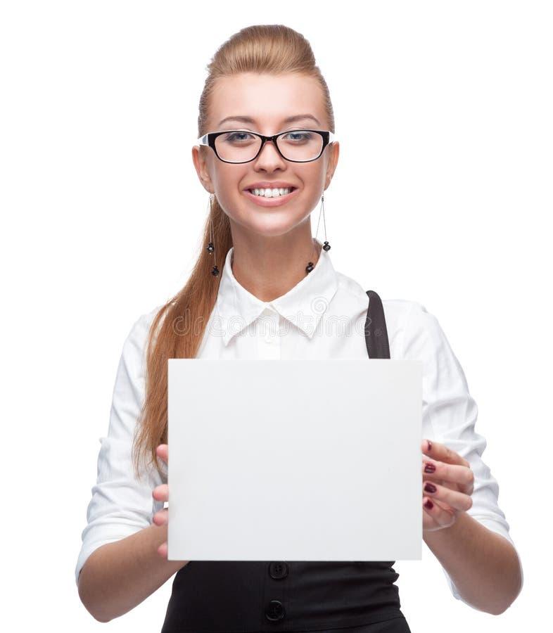 Geschäftsfrau, die Zeichen hält lizenzfreie stockbilder