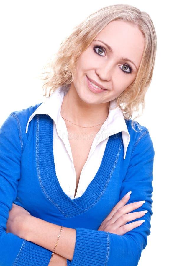 Geschäftsfrau in einer blauen Jacke lizenzfreies stockbild