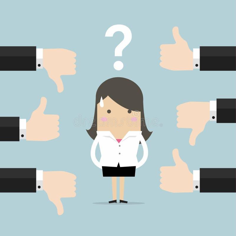 Geschäftsfrau erhalten Feedback von anderen Leuten lizenzfreie abbildung