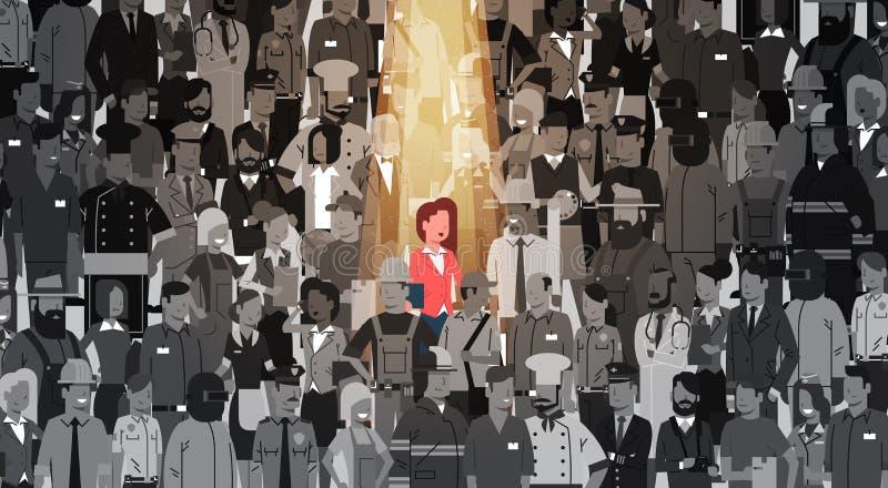 Geschäftsfrau-Führer-Stand Out From-Mengen-Einzelperson, Scheinwerfer-Mietmenschliche Ressourcen-Einstellungs-Bewerberleute-Grupp lizenzfreie abbildung