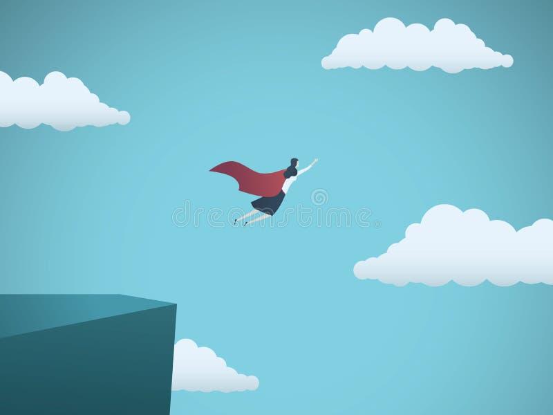 Geschäftsfrau-Führersuperheld-Vektorkonzept Geschäftsfrau, die weg von einer Klippe als Held mit Kap fliegt Symbol von Feminismus stock abbildung