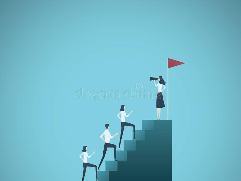 Geschäftsfrau-Führervektorkonzept Geschäftsfrau, die mit kletternder Treppe des Teams mit Megaphon spricht Symbol von lizenzfreie abbildung