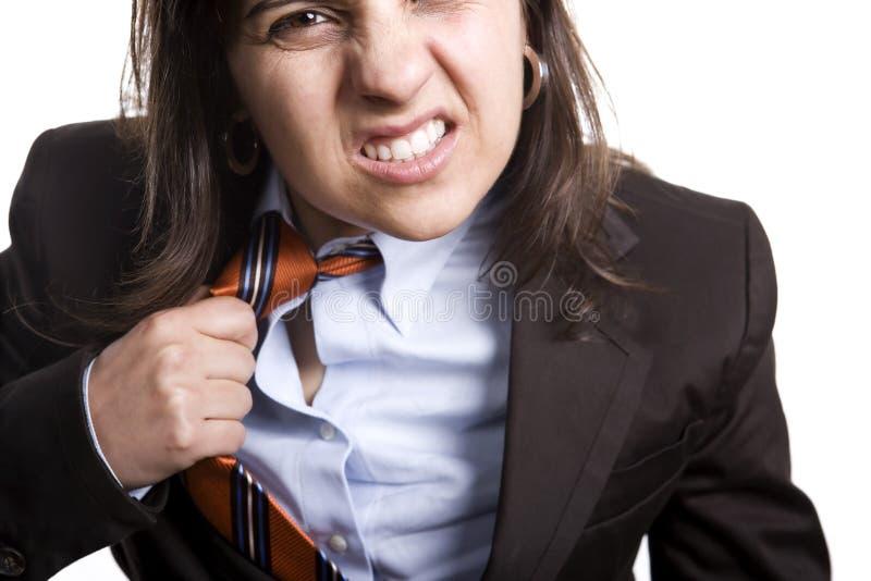 Geschäftsfrau frustriert oder gereizt stockbild