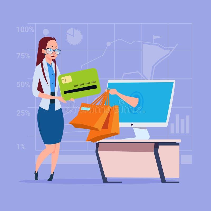 Geschäftsfrau-Gebrauchs-Computer-on-line-Einkaufstasche-Handschirm-Kaufen durch Internet-Handel lizenzfreie abbildung