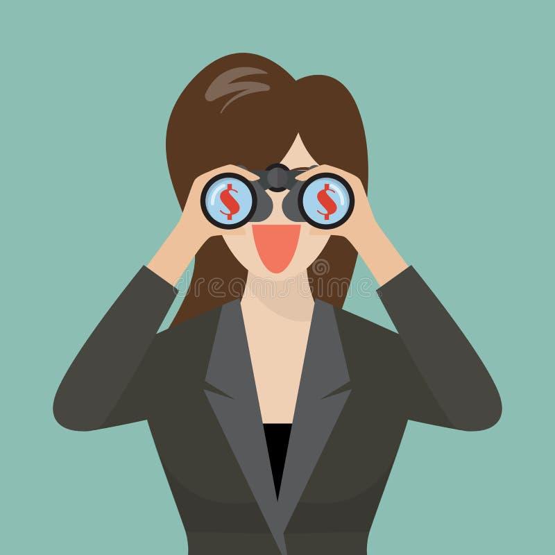 Geschäftsfrau-Gebrauchsferngläser, die nach Geld suchen lizenzfreie abbildung