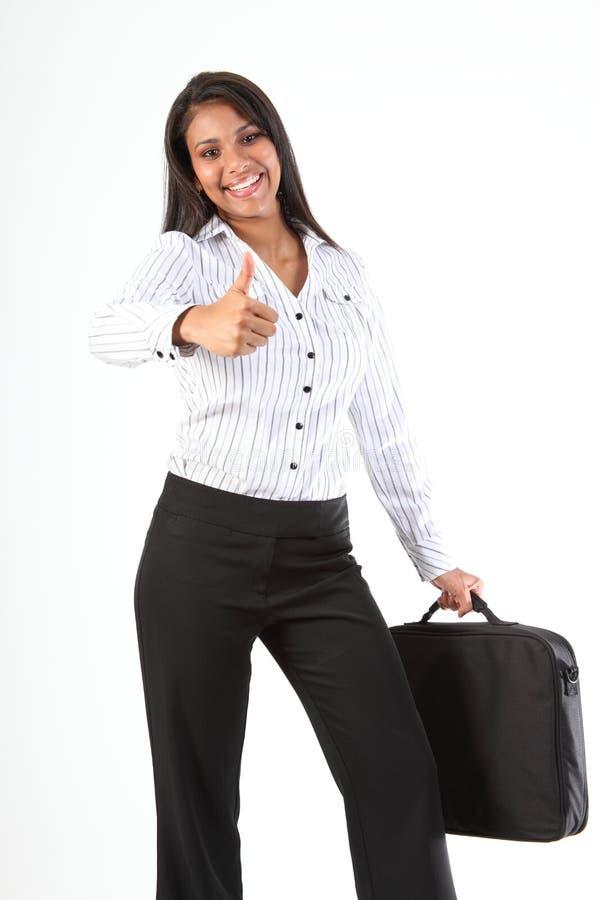 Geschäftsfrau gibt Spaßdaumen für Erfolg auf stockbilder
