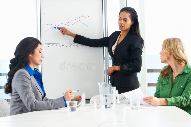 Geschäftsfrau-Giving Presentation To-Kollegen lizenzfreies stockbild
