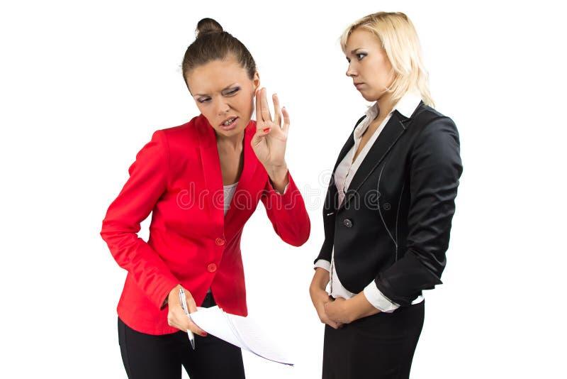 Geschäftsfrau hören nicht enother eins stockfoto
