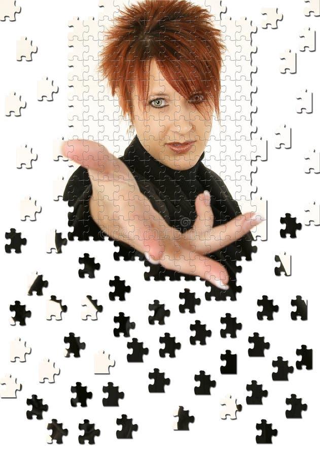 Geschäftsfrau-Handpuzzlespiel stockfotografie