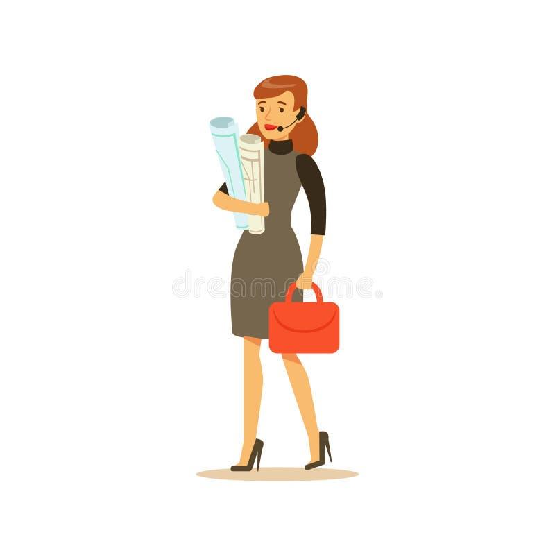 Geschäftsfrau With Headset, Geschäftslokal-Angestellter in der Amtstracht-Code-Kleidung beschäftigt an Arbeits-lächelnder Karikat vektor abbildung