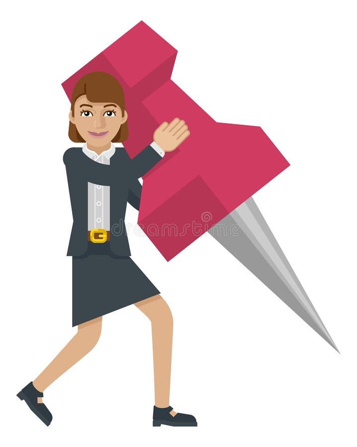 Geschäftsfrau-Holding-Daumen-Reißnagel Pin Mascot stock abbildung