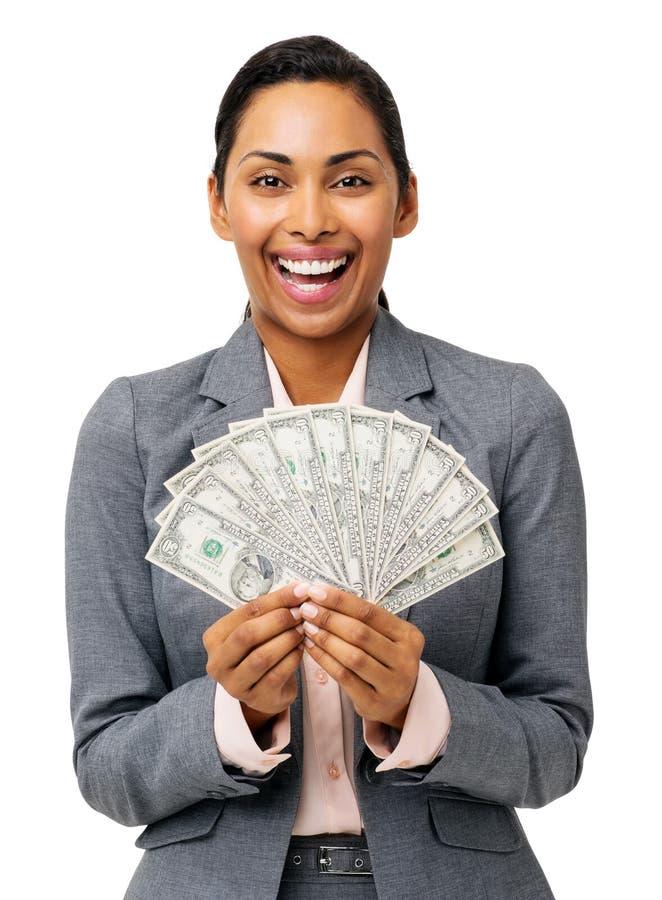 Geschäftsfrau Holding Fanned Out fünfzig Dollar-Anmerkungen lizenzfreies stockbild