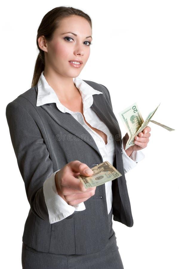 Geschäftsfrau-Holding-Geld lizenzfreie stockfotos