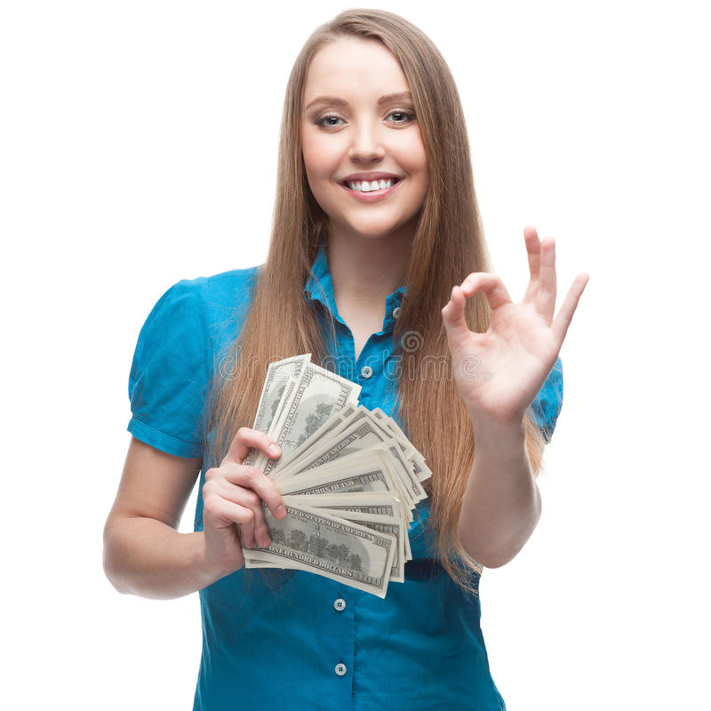 Geschäftsfrau Holding Money lizenzfreies stockfoto