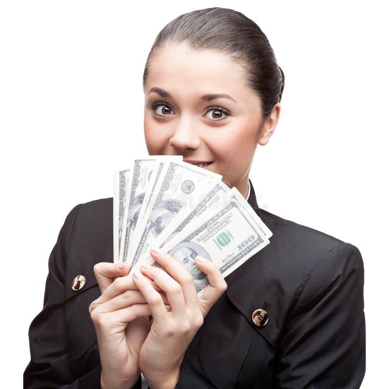 Geschäftsfrau Holding Money stockfotos