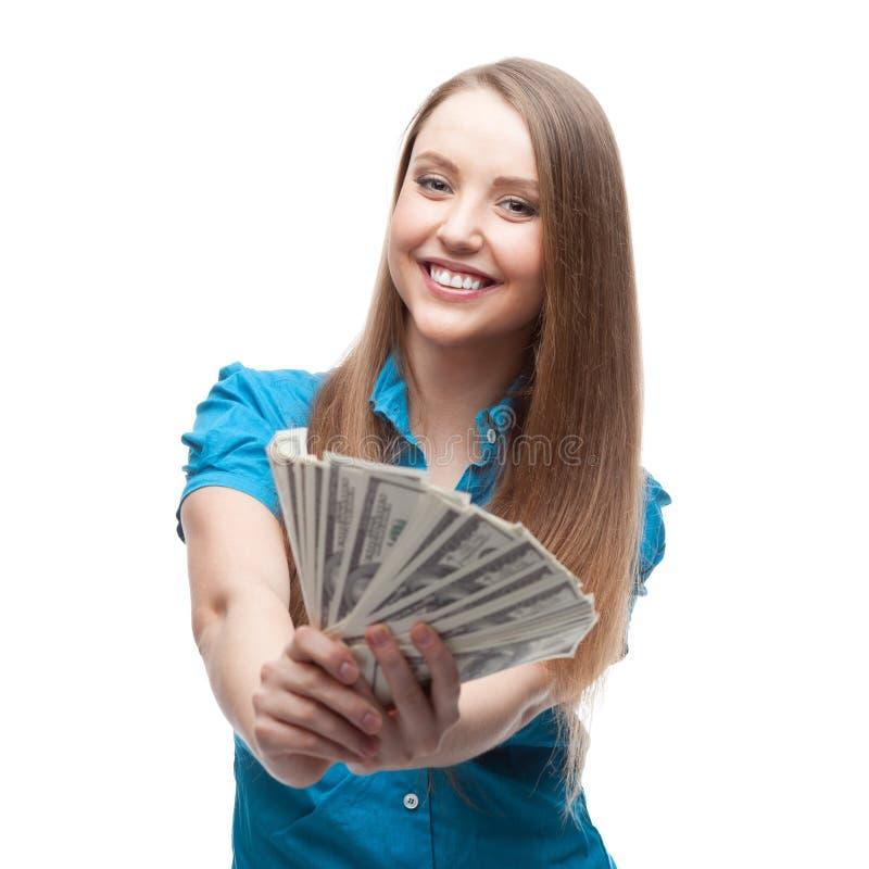 Geschäftsfrau Holding Money lizenzfreie stockfotos