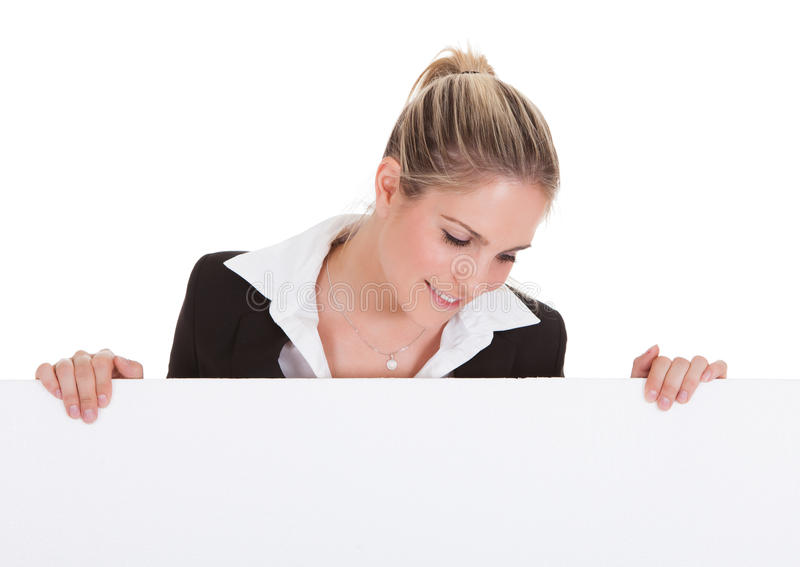 Geschäftsfrau Holding Placard stockfotografie