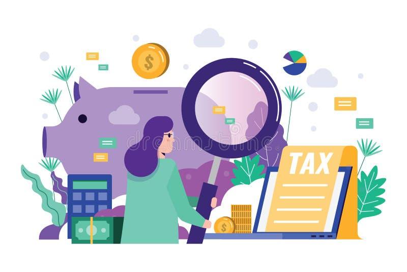 Geschäftsfrau-Holdinglupe, zum von Finanzdaten zu revidieren stock abbildung