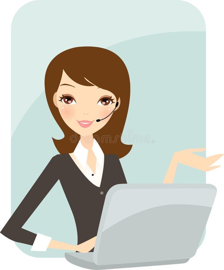 Geschäftsfrau im Büro stock abbildung