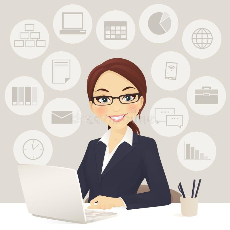 Geschäftsfrau im Büro lizenzfreie abbildung